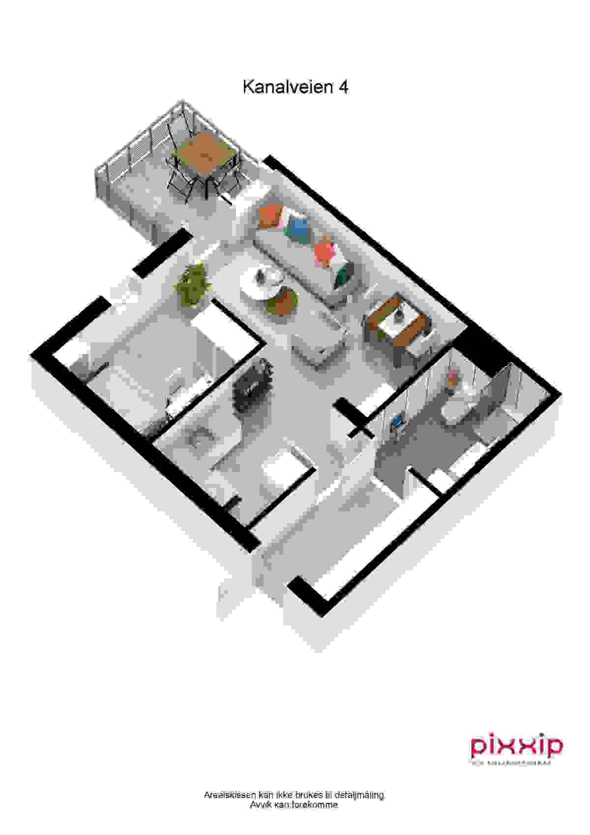 Planskisse - NB! Det er ettermontert glassdør mellom stue og soveromsnisje