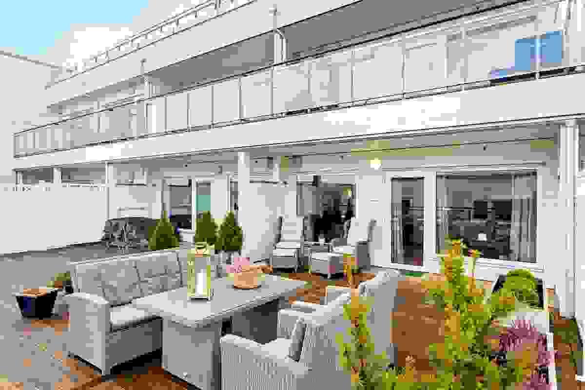 Leiligheten har en fantastisk terrasse på hele 46m²
