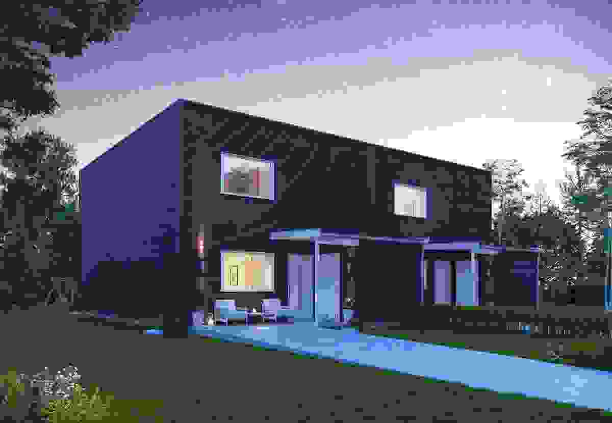 Fasade kveld - illustrasjon