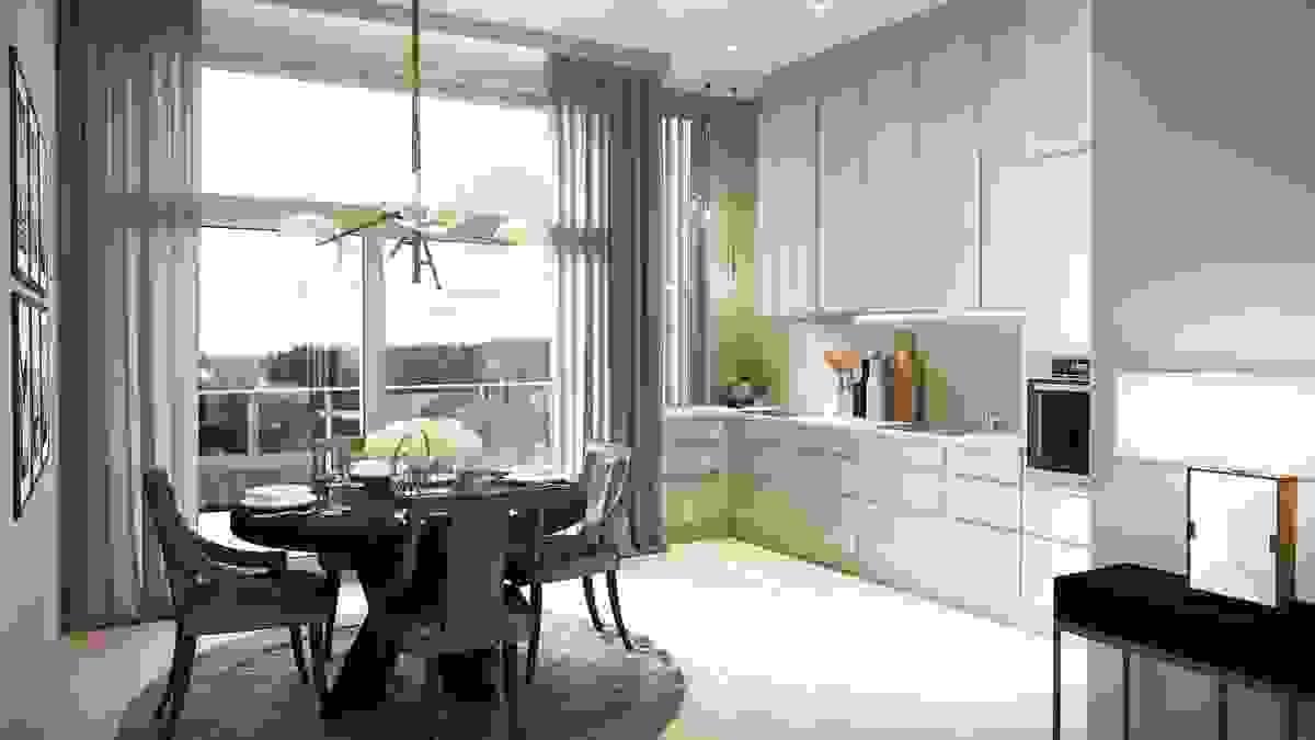 Kjøkken fra Svane kjøkken m/takhøye overskap