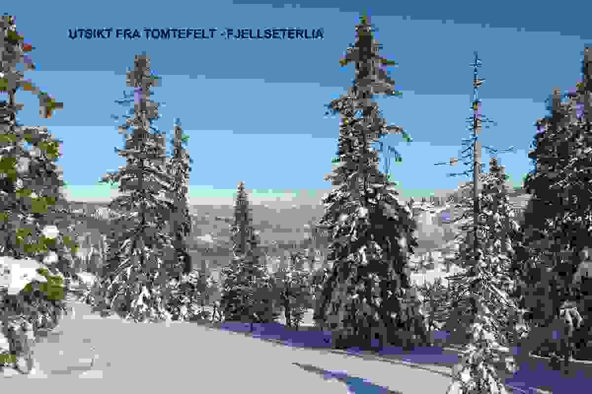 Utsikt fra tomtefelt februar 2018 - Fjellseterlia