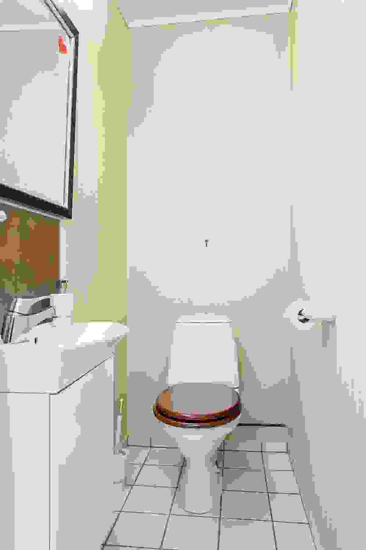 Det praktiske gjestetoalettrommet har som dusjrom/vaskerom inngang fra entrè