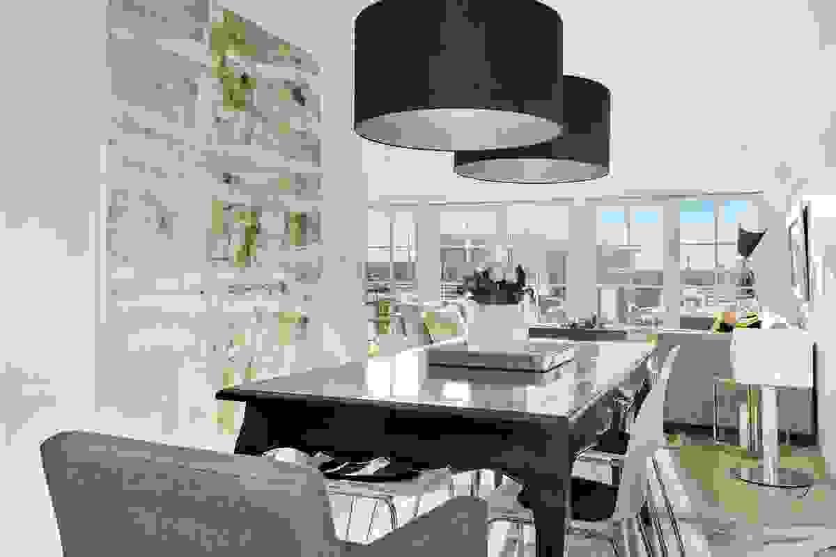Spisestuen ligger mellom stuen og kjøkkenet, med plass til stort langbord hvor man kan samle familie og venner til selskap.
