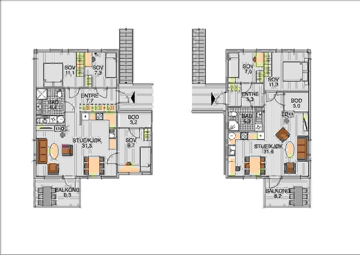 Plantegning for 3-roms/4-romsleilgheter_illustrasjon