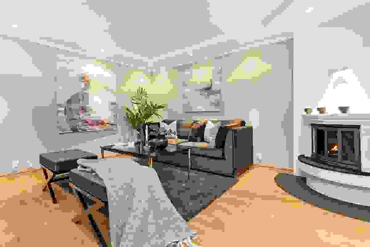 Lune og moderne veggfarger preger alle rom i huset