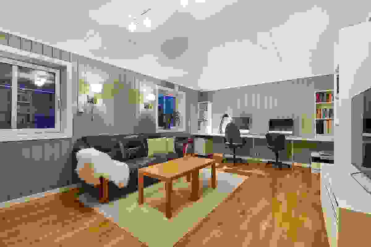 Kjellerstuen er et praktisk rom om en søker alenetid. Det er bl.a. også et bad/wc og soverom i underetasjen.