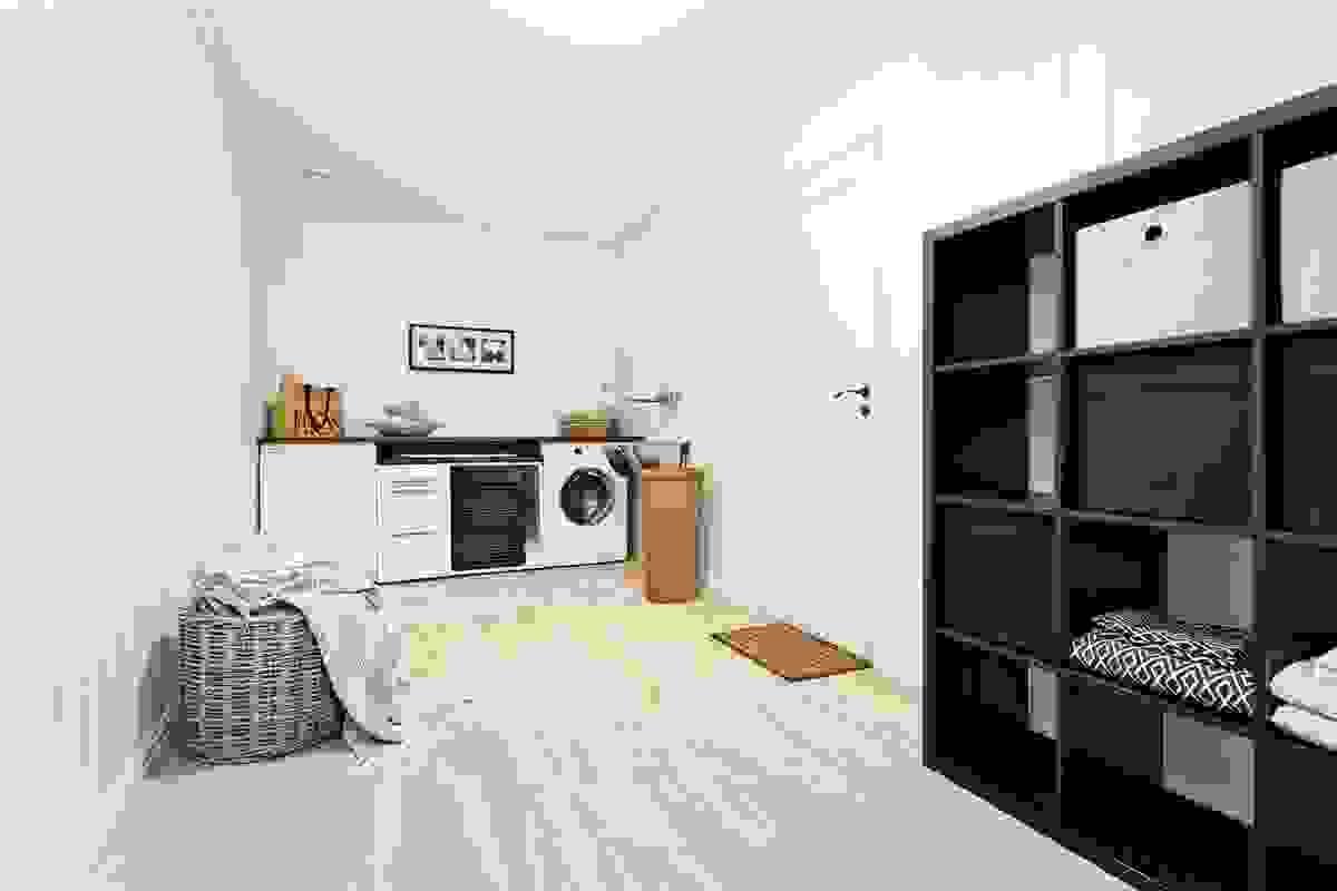 Vaskerom/(bod m/opplegg for vaskemaskin) direkte inn fra garasje.