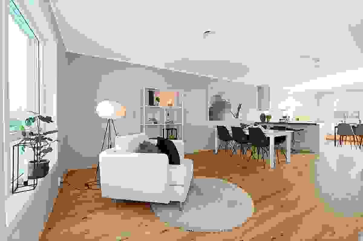 Stue med plass til spisestue