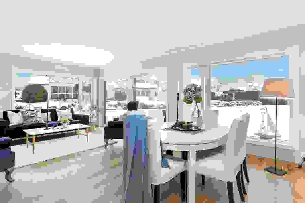 Dette rommet er nok utvilsomt leilighetens samlingsplass hvor det bys på møbleringsmuligheter for både hverdagshygge og mulighet for å samle til familie-/venneselskap