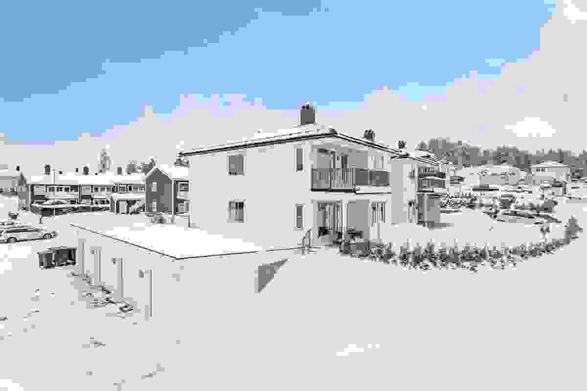 Fasade og garasje i rekke