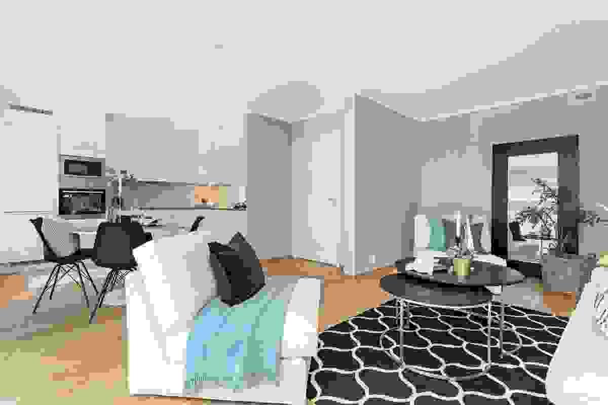 Stuen og kjøkkenet er på til sammen ca. 32,8 m²