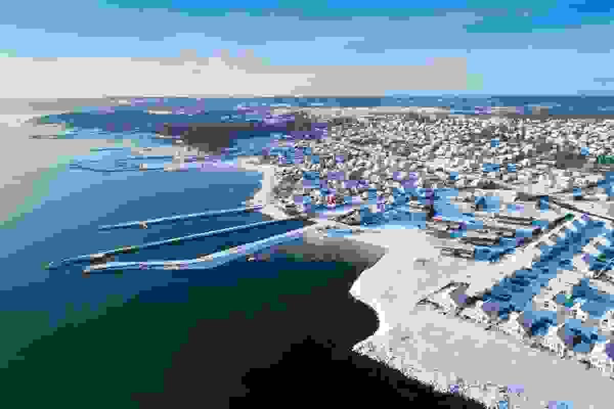 Steinsnesbukta fotografert fra drone