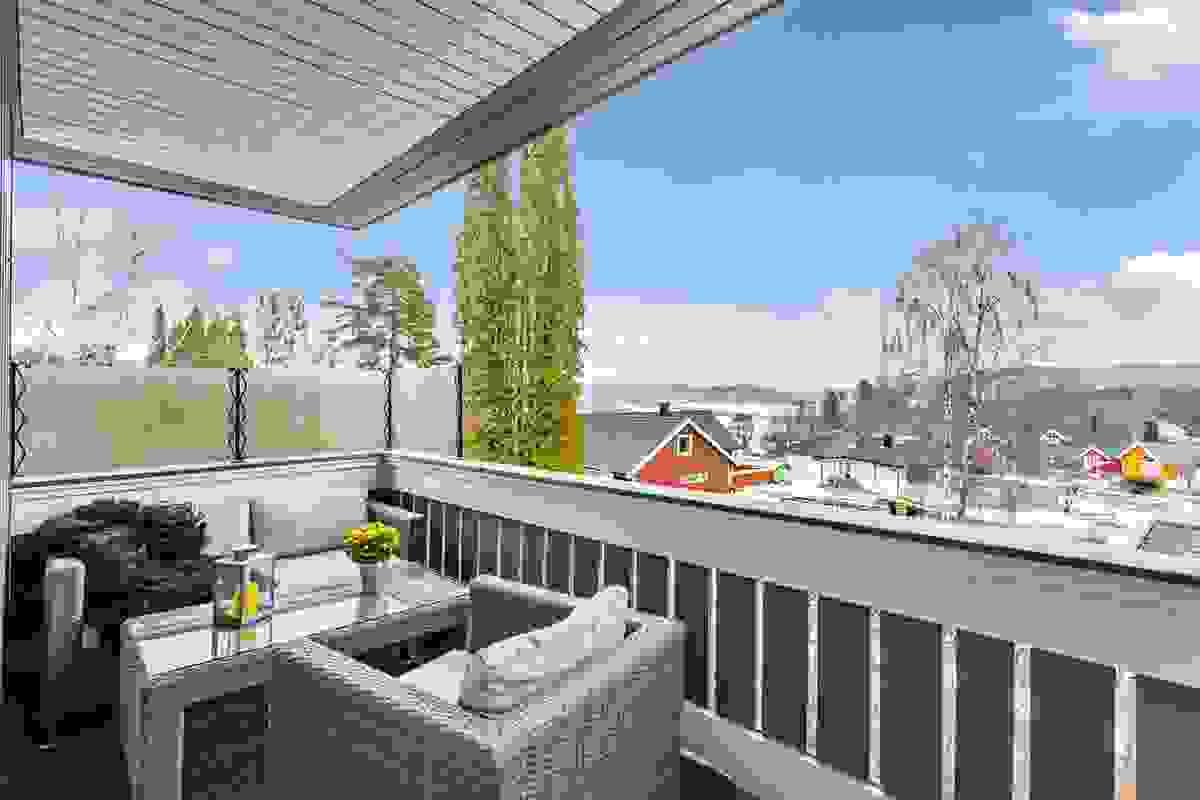 Terrasse ut fra stue mot syd - overbygget.