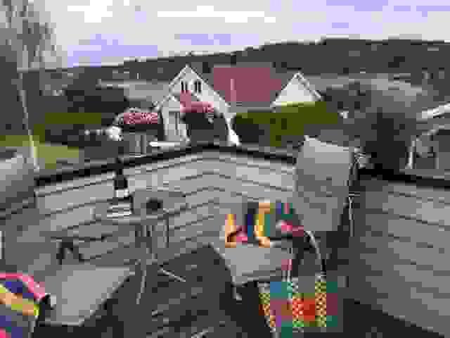 Sommerbilde fra balkongen mot Ekenessundet