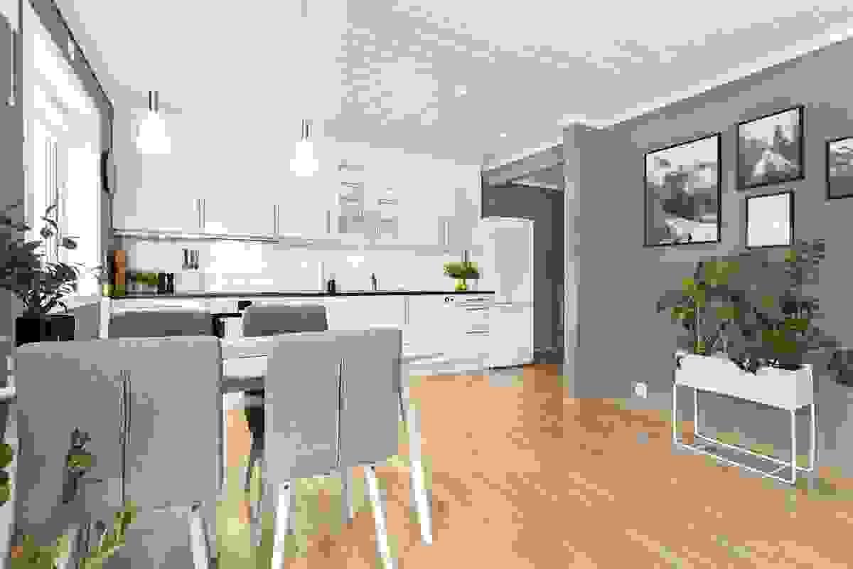 Svært arealeffektiv og moderne leilighet med god rominndeling, praktiske løsninger og følgende rominndeling