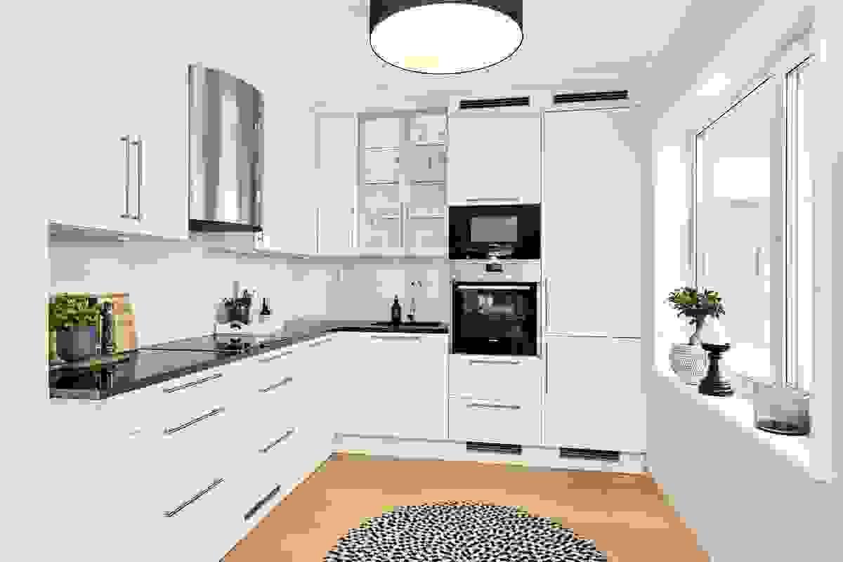 Kjøkkenet med integrerte hvitevarer og mange fine detaljer