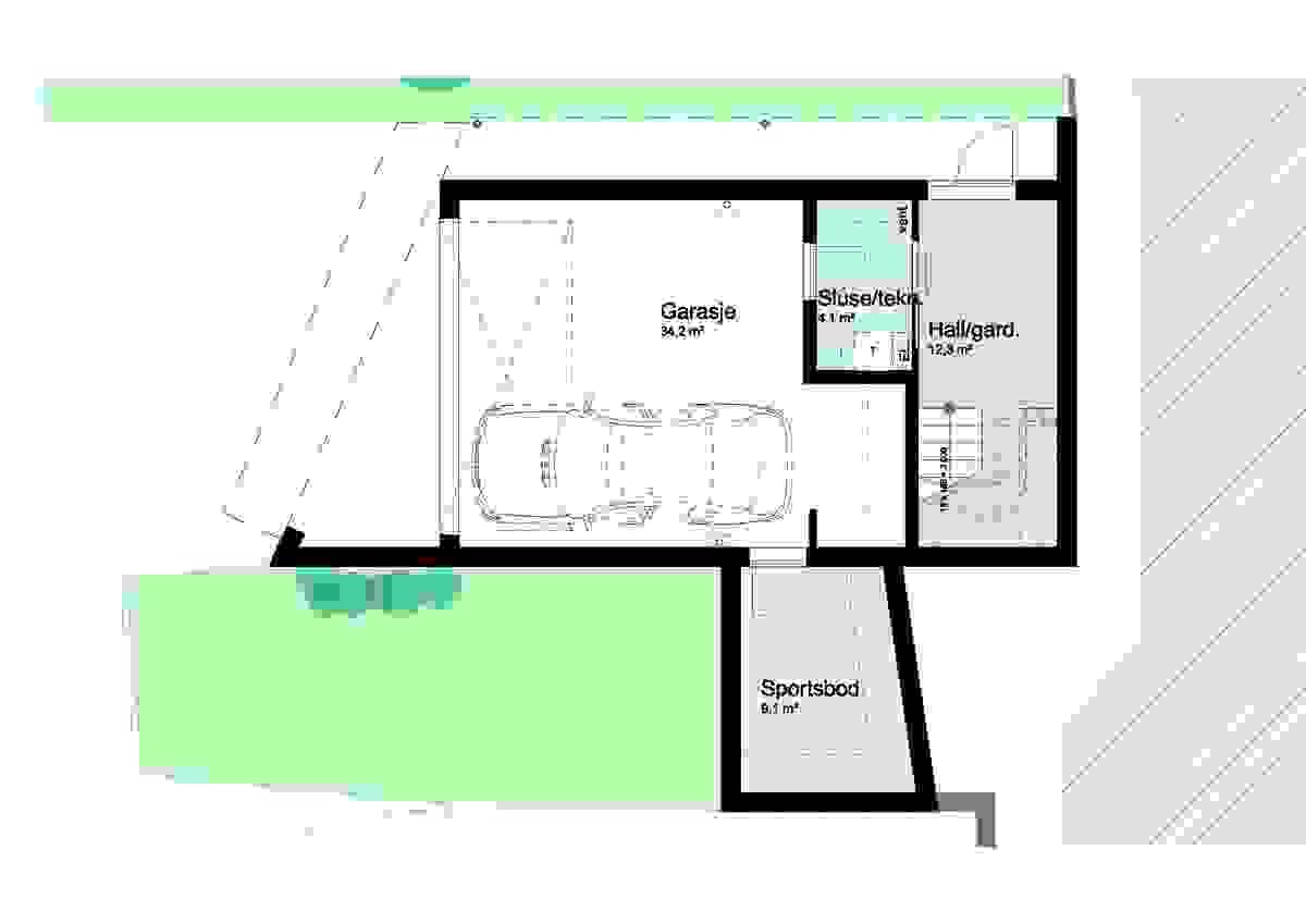 Hus A og Hus B, underetajse - illustrasjon