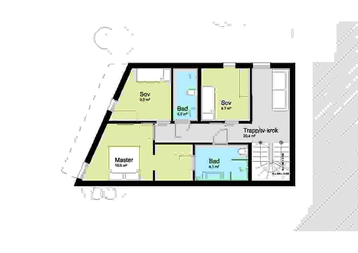 Hus A og Hus B, 1. etasje - illustrasjon