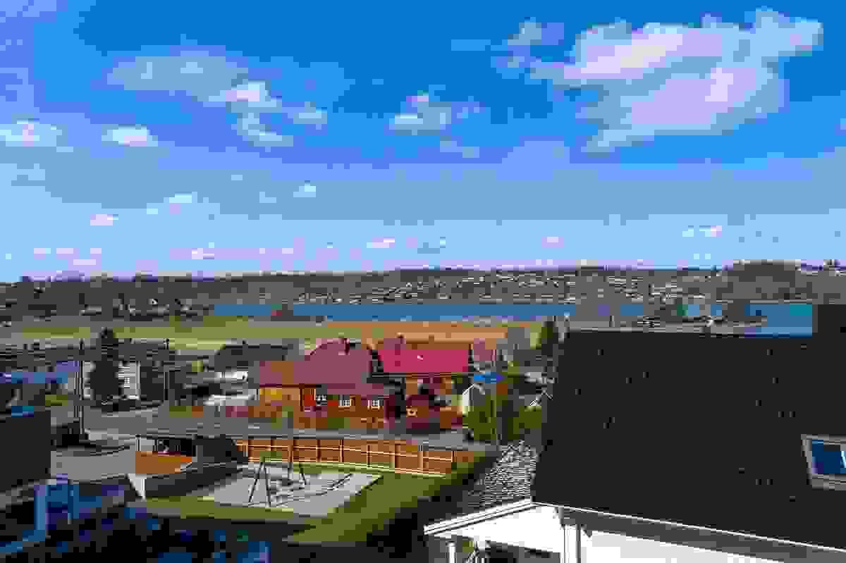 Utsyn fra Hus C (sydligste boligen) - dronefoto