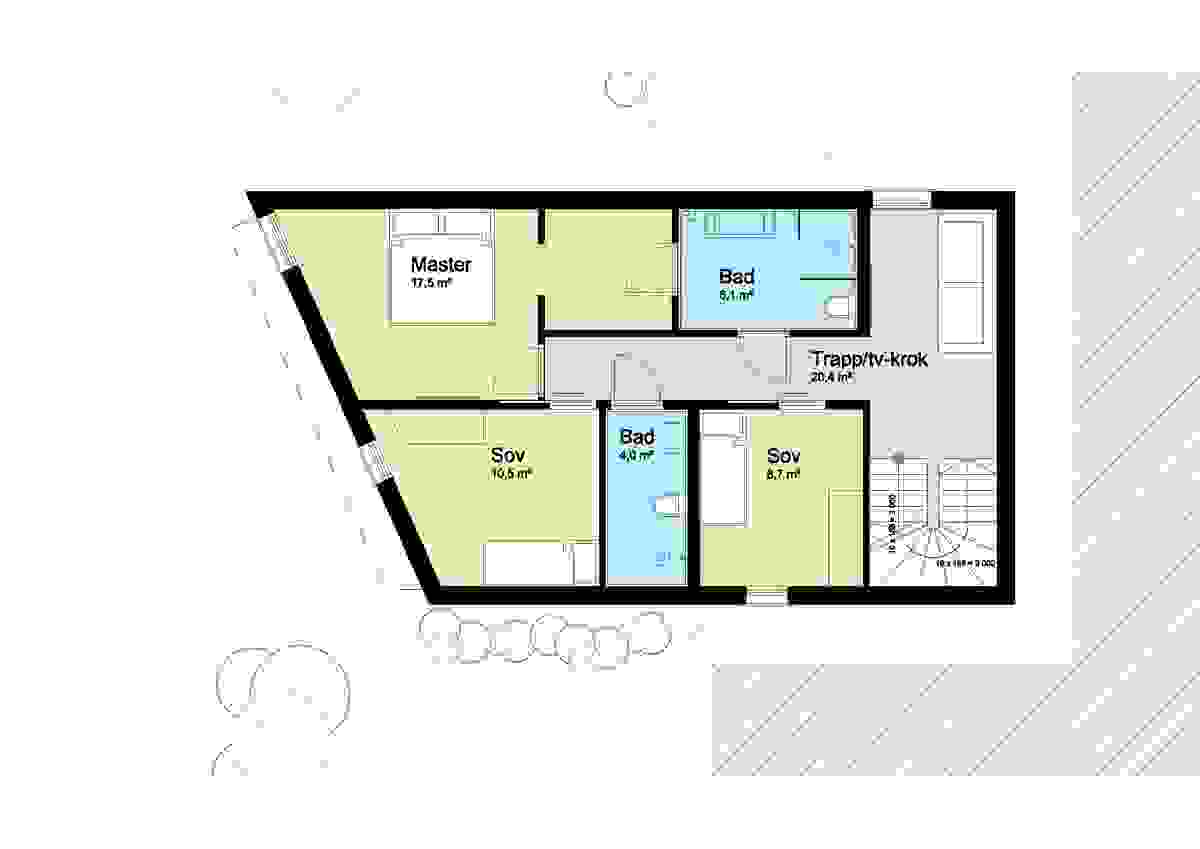 Hus C, 1. etaske - illustrasjon