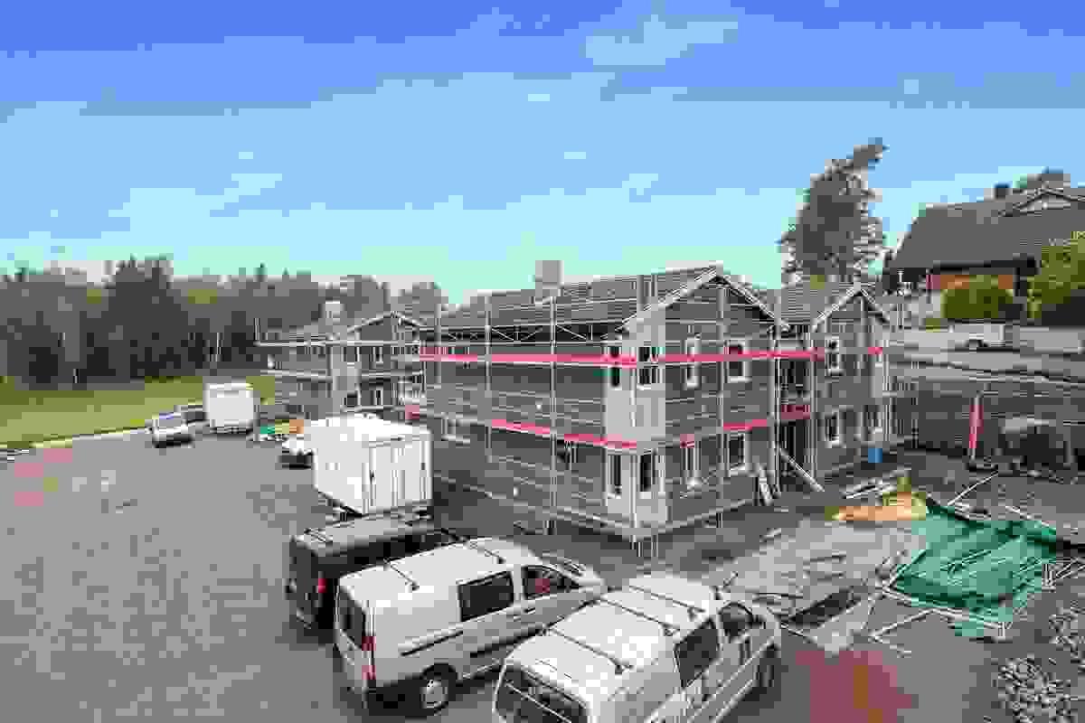 Fasade Hus 3 og 4 samt Hus 1 og 2, mai-2019